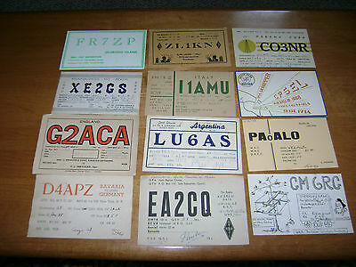 lot of 12 vintage /  unusual countries or islands- QSL cards from 1960's lot 3