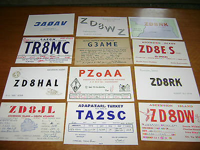 lot of 12 vintage /  unusual countries or islands- QSL cards from 1960's lot 7