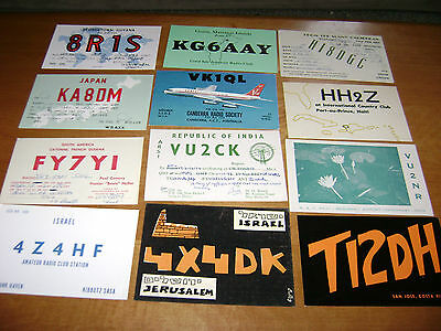 lot of 12 vintage /  unusual countries or islands- QSL cards from 1960's lot 8