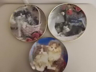 3 Collector Cat Plates - Ladies Of Leisures, Just Hanging Out, What Can The Matt
