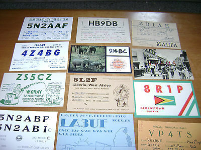 lot of 12 vintage /  unusual countries or islands- QSL cards from 1960's lot 9