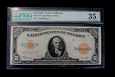 1922 $10.00 Gold Certificate FR1173 Star Note PMG VF35