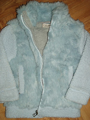 Next Girls Baby Blue Lush Super Soft Winter Lined Faux Fur Jacket Coat 3 Yrs