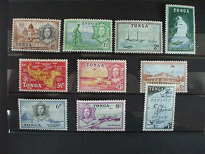 TONGA- 1953 General Issue Short Set of 10vs to 1/-  MH Cat 13.80 (17V)