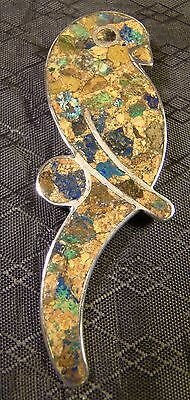 Sterling Silver Turquoise & Stone Inlay Parrot Large Statement Pin Brooch