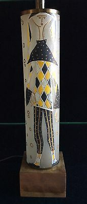 Vintage Italy Jester Lamp Glass MCM Pagliaccio 1960's Hollywood Regency Tall