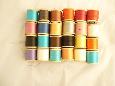 24 vintage wooden cotton reels  J Dewhurst SYLKO mixed colours most full No.1