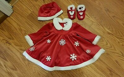 Christmas Baby Girl Christmas Snowflakes Red Dress Faux Fur Photography Outfit