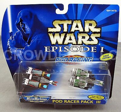 Star Wars Episode 1 Pod Racer Pack III Rare 1st Edition Micro Machines NiB '99