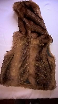 Girls Brown Faux Fur Gilet with Hood by Next Age 10 Years 140cm