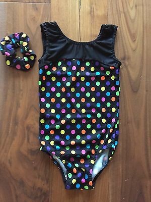 Girls Black Spotted Gym Leotard & Scrunchie Age 6-7 Approx 26 In Exc Con