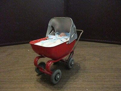 Vintage Pressed Metal Baby Carriage - Wooden Wheels - Hard Plastic Jointed Baby