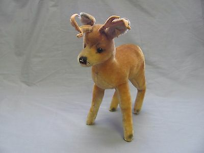 "Steiff Original Deer Buck Stag 12"" Vintage Plush Antique W/ Button & Tag Antlers"