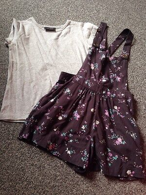 Next Girls Floral Dungarees And T-shirt, Age 5 Years