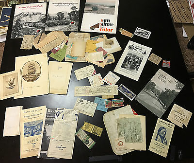 Vintage Travel & Tourism Lot w/ Ship Itinerary, Brochures, Tickets, Match Covers