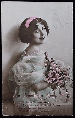 """Nice Vintage Postcard of Young Lady """"In Friendships Name"""" 1915 Posted Ireland"""