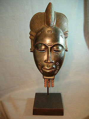 Exquiste Baule Chief Mask on Custom Wood Base, Ivory Coast.