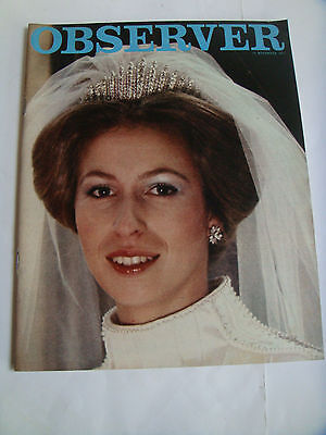 VINTAGE OBSERVER MAGAZINE 25th NOVEMBER 1973 ANNE & MARK PHILLIPS WEDDING PHOTO