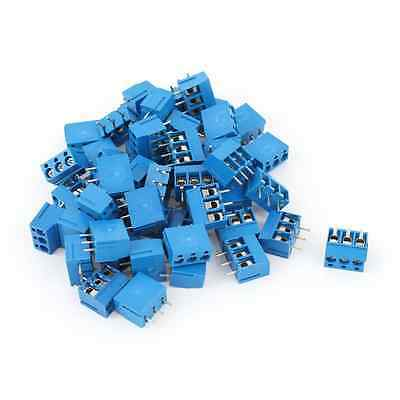50 Pcs 3Way 3Pin PCB Screw Terminal Block 5mm Pitch for 14-22AWG Wire
