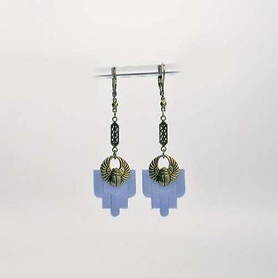 GORGEOUS ANTIQUE 1920's ART DECO STEPPED & BEVELED BLUE GLASS DROP EARRINGS!