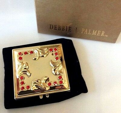 Jeweled Dbl Mirror Compact Signed DEBBIE PALMER in Box