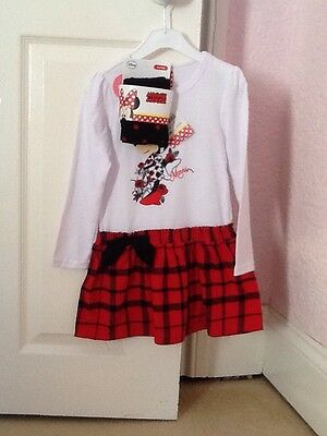 Bnwt Minnie Mouse Dress And Tights Set 3-4Yrs