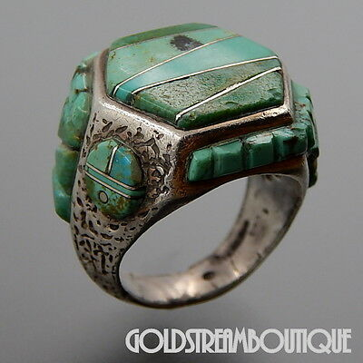 Vintage Zuni Signed Sterling Silver Turquoise Raised Inlay Sun Face Hexagon Ring