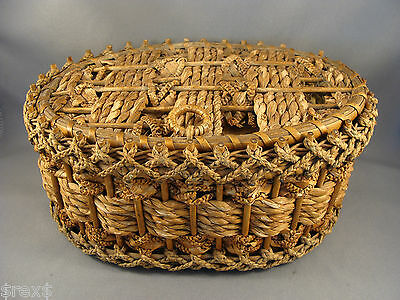 Antique Rushwork Wicker Oval Sewing Basket Canada