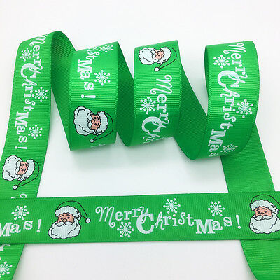 "New 5 yds 1"" 25mm Printed Christmas Grosgrain Ribbon Hair Bow DIY Sewing #MC30"