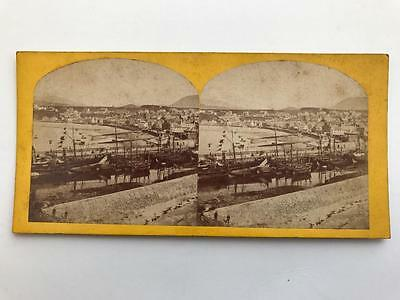 Early Stereoview 1860s Fishing Boats Peel Harbour Isle of Man