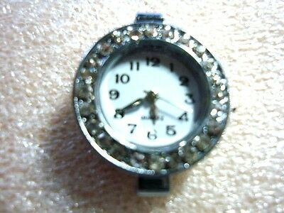 1 x Quartz  Watch Face with Rhinestones Silver Tone -   Findings  (Number 2)