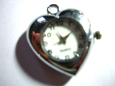1 x  Silver Tone Quartz Watch Face For Necklace/fob  Beading lot 35