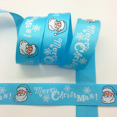 "New 5 yds 1"" 25mm Printed Christmas Grosgrain Ribbon Hair Bow DIY Sewing #MC29"