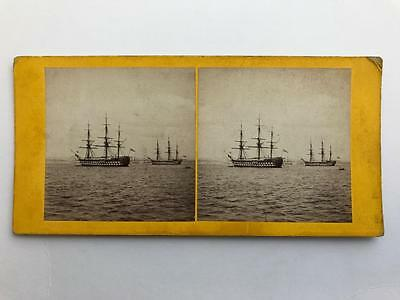 Early Stereoview 1860s Royal Navy Tall Ships HMSS Conqueror & Centurion
