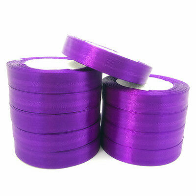 "New 5 Yards 1"" 25mm Purple Satin Ribbon Multi-Purposes Craft Wedding Party"