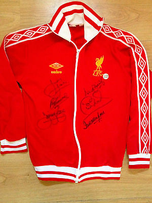 Vintage Liverpool Umbro tracksuit top hand signed by six photo proof