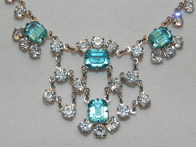 Vintage Clear & Blue Open-Backed Crystal Rhinestone Silver Choker Necklace