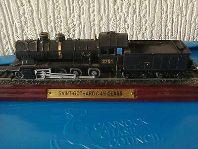 Saint Gothardc 4/5 Class Model Train On Wooden Stand