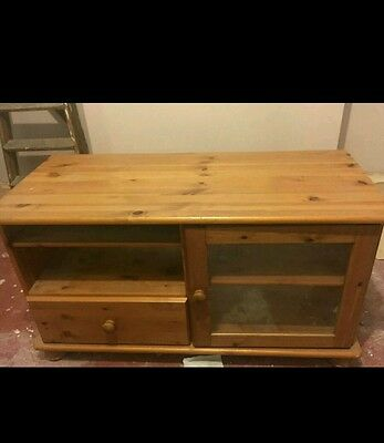 Wooden TV Stand Solid Pine Television Cabinet Entertainment Unit