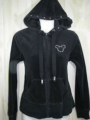 Disney Parks Black Velour Hoodie Bling Rhinestones Mickey Mouse Small S 4 6