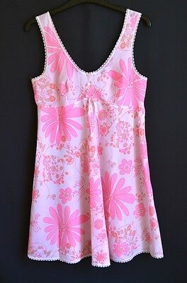 Vintage original 1960s pink flower nightie dress slip