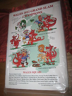 Wales 2012 Grand Slam Winners Poster-Signed 17/3/2012 By Caricaturist