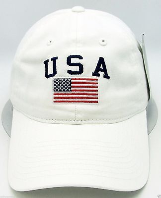 New USA American Flag Ball Cap US Military Relaxed Hat Adjustable White Unisex