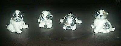 Set of 4 miniature border collie puppy dog  ornaments pottery hagen renaker?