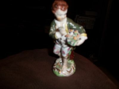 """Antique Small 4.25"""" Continental Figure Of A Young Boy - German ? Dresden ? A/F"""
