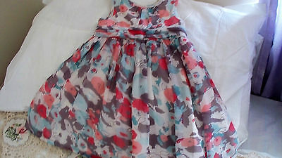 Babies Floral Dress (Lining 100% Cotton) By George 9 To 12 Months/24Lbs/11Kg