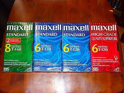 4 New Maxell Standard&High VHS Blank Tape Video Cassette 6-8 Hours 3 T-120,1T160