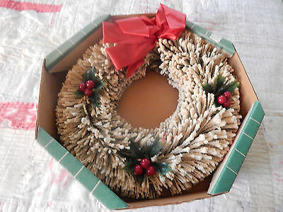 Vintage 14 Inch Snowy Flocked Christmas Holiday Wreath In the Original Box