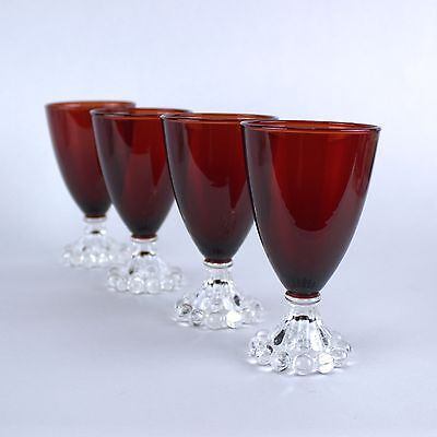 """Anchor Hocking BOOPIE ROYAL RUBY RED 4oz Juice Wine 4.5"""" Glass Goblet   Set of 4"""