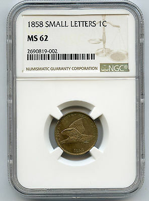 1858 Small Letter Flying Eagle Cent NGC MS 62